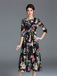 Women's Casual/Daily Vintage Swing Dress,Floral Round Neck Midi Polyester Fall Winter High Rise Micro-elastic Medium