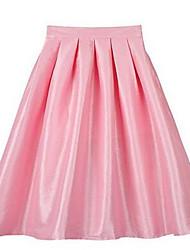 Damen Röcke,A-Linie einfarbigLässig/Alltäglich Hohe Hüfthöhe Midi Reisverschluss Polyester Micro-elastisch Herbst / Winter