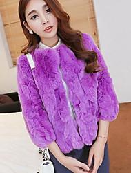 Women's Casual/Daily Simple Fur Coat,Solid ¾ Sleeve Blue / Red / Black / Purple Rabbit Fur