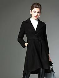 Damen Solide Retro Lässig/Alltäglich Mantel,Winter Gekerbtes Revers Langarm Rot / Schwarz Mittel Wolle / Polyester