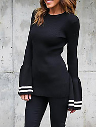Women's Going out / Casual/Daily / Holiday Sexy / Simple / Street chic Regular Pullover,Solid Black Round Neck Long Sleeve PolyesterFall