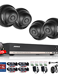 ANNKE® 8CH CCTV Camcorder Set AHD DVR 4PCS 960P IR Outdoor Home Security Camera Surveillance System Kit  1TB