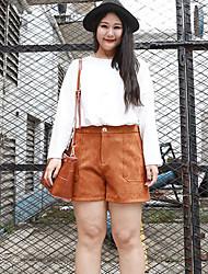 NININIU    Women's Plus Size Skinny Shorts PantsCasual/Daily Simple Solid Mid Rise Zipper Polyester Micro-elastic All Seasons / Winter