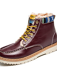 Men's Boots Winter Comfort PU Casual Low Heel Lace-up Black Blue Red Other
