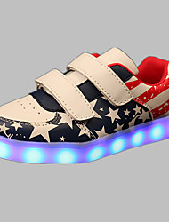 Boy's Sneakers Spring Summer Fall Winter Comfort Light Up Shoes PU Outdoor Casual Athletic Flat Heel Buckle LED Blue Pink Red Other