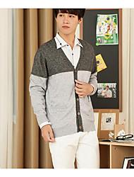 Herren Kurz Pullover-Lässig/Alltäglich Einfach Einfarbig Grau Grün V-Ausschnitt Langarm Polyester Herbst Mittel Mikro-elastisch