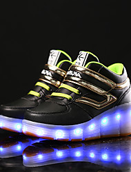 Boy's Boots Walking shoes LED charging Comfort Leather Casual Flat Heel Magic Tape Black/Blue Black/Green Black/Red