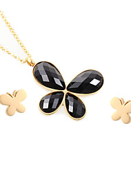 Kalen New Cheap Colorful Jewelry Set Stainless Steel 18K Gold Plated Butterfly Pendant Necklace And Earrings Sets For Women Gifts