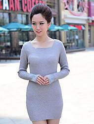 Women's Casual/Daily Simple Regular Pullover,Solid Multi-color Square Neck Long Sleeve Cotton Polyester Spring Fall Medium Micro-elastic