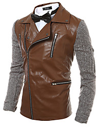 Men's Casual/Daily Simple Leather JacketsPatchwork Shirt Collar Long Sleeve Fall / Winter PU / Cotton Thick