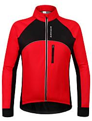 WOSAWE Veste de Cyclisme Unisexe Manches longues Vélo Etanche Garder au chaud Pare-vent Doublure Polaire Poche arrière Shirt Maillot100 %