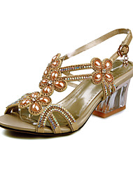 Women's Sandals Summer Comfort Ankle Strap Glitter Casual Athletic Party & Evening Chunky Heel Crystal Buckle Rose Gold Walking