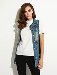 Women's Casual/Daily Street chic Fall Slim Long Holes Denim Vest Jackets,Solid Shirt Collar Sleeveless Blue Cotton