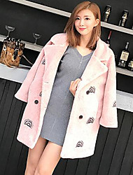 Women's Casual/Daily Simple Coat,Solid Long Sleeve Fall / Winter Pink Rex Rabbit Fur