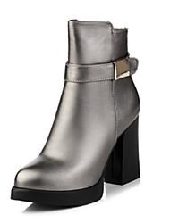 Damen-Stiefel-Lässig-PU-Blockabsatz-Komfort-Schwarz / Rot / Gold