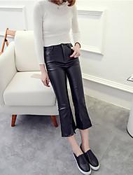 2016 nouvelle u cuir p larges pantalons à jambes évasées pantalon collants