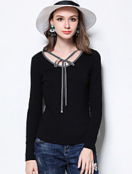 Normal Pullover Femme Décontracté / Quotidien simple,Rayé Noir Col en V Manches Longues Coton / Polyester / Spandex Automne Moyen
