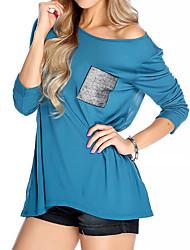 Damen Solide Einfach / Street Schick Ausgehen / Lässig/Alltäglich T-shirt,Rundhalsausschnitt Frühling / Herbst ¾-Arm Blau / Schwarz