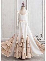 Princess Floor-length Flower Girl Dress - Charmeuse Sleeveless Square Neckline With Bow(s)