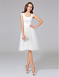 A-line Wedding Dress Knee-length Scoop Cotton / Tulle with Lace