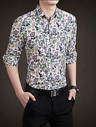 Masculino Camisa Social Casual / Trabalho Simples Todas as Estações,Sólido / Floral Colorido Algodão Colarinho de Camisa Manga Longa Média