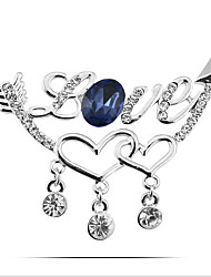 Women's Brooches Crystal Simulated Diamond Heart Silver Purple Golden Jewelry Party Daily