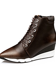 Women's Boots Spring / Fall / Winter Platform / Others  Dress / Casual Wedge Heel Gore / Zipper Silver / Black and Gold / Tan