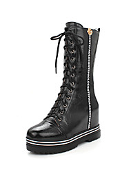 Women's Boots Fall Winter Other Leather Outdoor Dress Casual Lace-up Black Red White Silver