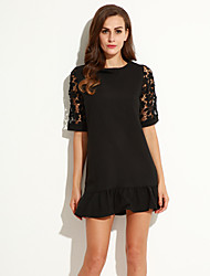 Women's Sexy Casual Lace Cute Plus Sizes Micro Elastic ½ Length Sleeve Above Knee Dress (Lace)