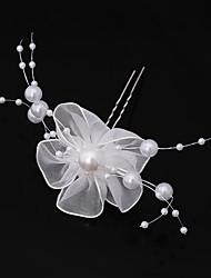 Mujer Encaje Perla Artificial Gasa Celada-Boda Ocasión especial Casual Oficina Flores Pasador de Pelo Palillo del pelo 6 Piezas