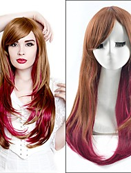 65cm Brown Wine Red Mixed Color Long Straight Cheap Heat Resistant Women Synthetic Wig Fashion Natural Lolita Cosplay Lovely Party Wig