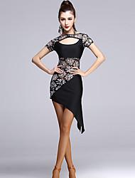 Dança Latina Vestidos Mulheres Actuação Elastano / Tule Borla(s) / Recortes 1 Peça Manga Curta Alto Vestidos M=105CM;L=106CM