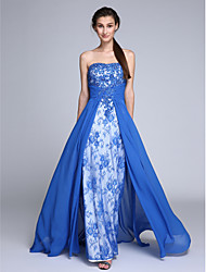Sheath / Column Strapless Sweep / Brush Train Chiffon Lace Prom Formal Evening Dress with Beading by TS Couture®