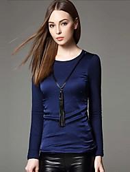 Feminino Camiseta Informal / Trabalho Simples / Moda de Rua Inverno,Sólido / feito à mão Azul / PretoPoliéster / Fibra Sintética /
