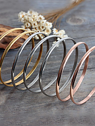 Kalen Fashion Multi-Strand Jewelry 7pcs/Set Tri-Color Silver Color Gold Rose Gold Plated Stainless Steel Women Bangles 65*4mm Bracelets Gifts