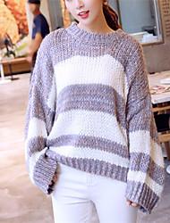 Damen Standard Pullover-Ausgehen Lässig/Alltäglich Niedlich Gestreift Beige Grau Lila Rundhalsausschnitt Langarm Polyester Herbst Winter