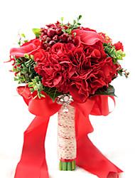 Fleurs de mariage Rond Roses Bouquets Mariage / Le Party / soiréePolyester / Satin / Taffetas / Dentelle / Elasthanne / Perle / Fleur