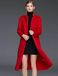 Feminino Casaco Casual Simples Inverno,Bordado Vermelho / Marrom / Verde Lã Colarinho Chinês-Manga Longa