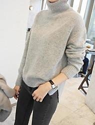 Damen Standard Pullover-Lässig/Alltäglich Einfach Solide Weiß Schwarz Grau Rollkragen Langarm Kaschmir Frühling Mittel Mikro-elastisch