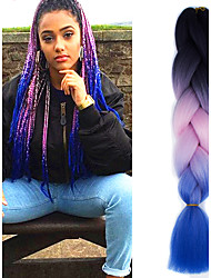"Black Light Pink Sapphire Ombre Crochet 24"" Yaki Kanekalon Fiber 100g 3 Tone Jumbo Braids Synthetic Hair"