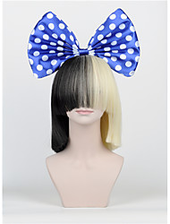The New Hair Bow Set Long Bangs Half Black Half Blonde Sia Styling Party Wigs High - end mesh blue Big bow