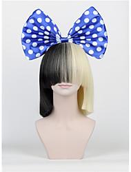 le nouvel arc de cheveux mis frange longue moitié noir perruques moitié blond sia style du parti haut - fin filet grand arc bleu