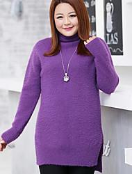 Women's Casual/Daily Plus Size Simple Regular Pullover,Solid Black Purple Round Neck Long Sleeve Acrylic Nylon Fall Winter Medium