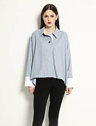 Feminino Camisa Social Informal / Casual Simples Outono,Listrado Azul / Marrom Algodão Colarinho de Camisa Manga Longa Média