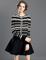 INPLUS LADY Women's Casual/Daily Simple Fall / Winter Set Skirt SuitsStriped Round Neck Long Sleeve Black Cotton Medium