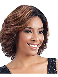 Capless Short Side Bang Fluffy Synthetic Wigs for Women with Free Hair Net
