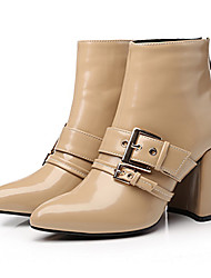 Women's Boots Winter Other Cowhide Dress Casual Party & Evening Chunky Heel Buckle Zipper Black Almond Coffee
