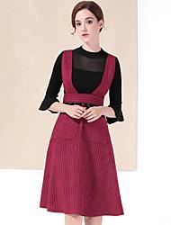 Tee-shirt Jupe Costumes Femme,Mosaïque Décontracté / Quotidien simple Automne / Hiver Manches ¾ Col Ras du Cou Rouge / Noir Polyester