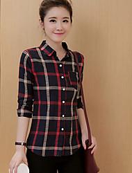Mulheres Camisa Casual Simples Outono,Xadrez Vermelho Algodão Colarinho de Camisa Manga Longa Média