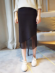 Women's A Line Solid Skirts,Going out Mid Rise Above Knee Zipper Cotton Micro-elastic All Seasons